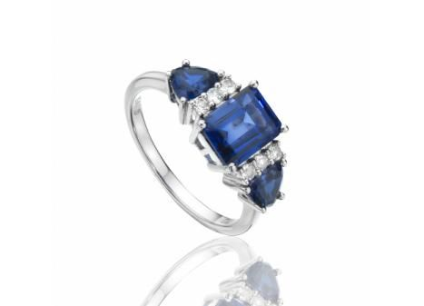 CREATED BLUE AND WHITE SAPPHIRE RING