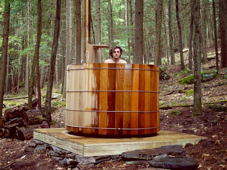 36 best images about wood fired hot tub on pinterest for Outdoor bathtub wood fired