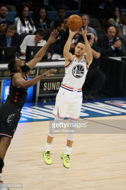 5e835e1b Stephen Curry of Team Giannis shoots the ball against James Harden of Team  LeBron during the 2019 NBA AllStar Game on February 17 2019 at the.