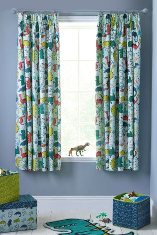Dylan The Dinosaur Blackout Pencil Pleat Curtains Harris