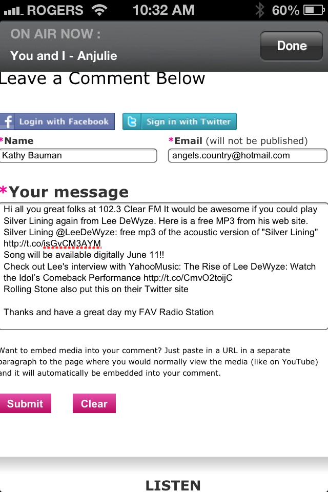 I submitted an email to 102.3 Clear FM on June 6 with link to free MP 3 download of Silver Lining and the link to interview Lee had with Yahoo Music