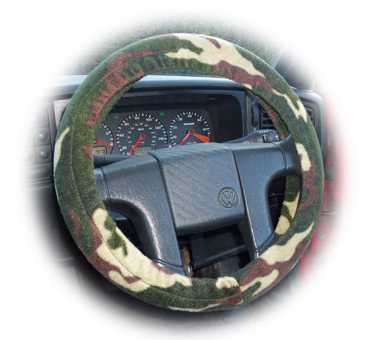 Camouflage steering wheel cover car Camo green ecru khaki brown army print fleece boys g.i jane g.i joe boy man dad jeep military