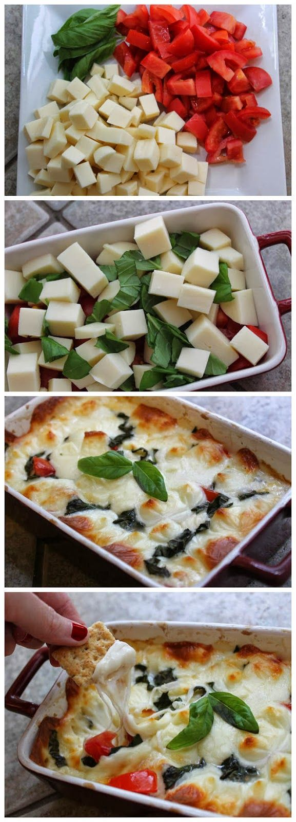 Hot Caprese Dip:This looks delicious and I've never heard of a dip like it! Absolutely trying this for a party this weekend. Looks unbelievable.Yum!