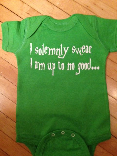 Cute Harry Potter I Solemnly Swear I Am Up To No Good Baby Onesie- Pick Your Color. Pick Your Size.. $12.00, via Etsy.