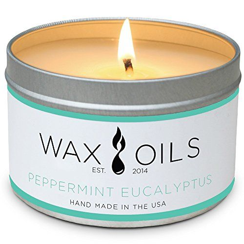Wax and Oils Soy Wax Aromatherapy Scented Candles Peppermint Eucalyptus 8 oz