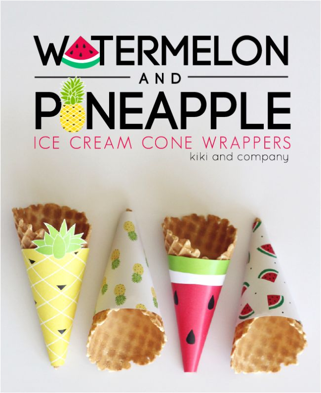 printable watermelon and pineapple ice cream wrappers