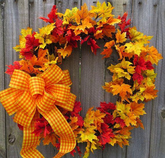 Fall Wreath Autumn Wreath Halloween Decor Harvest by HornsHandmade, $56.00