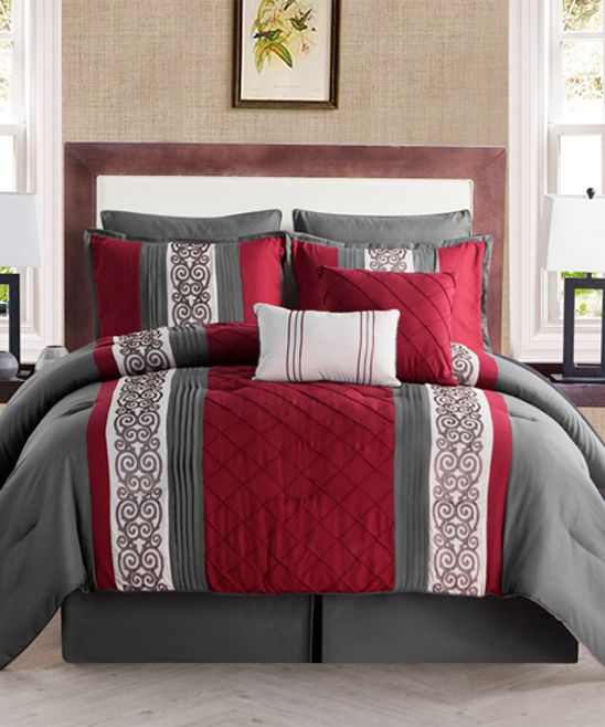 Charcoal & Red Farion Eight-Piece Comforter Set