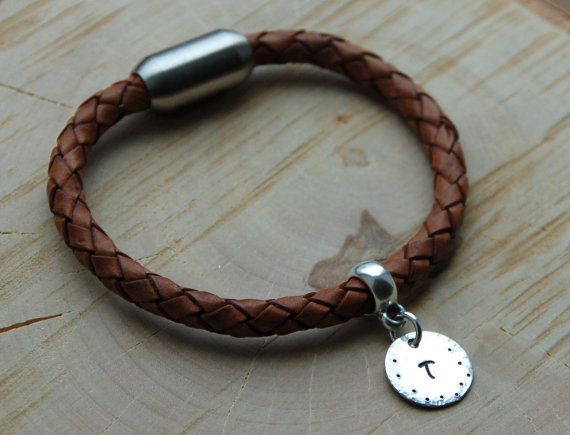 Lederen monogram armband armband van de Mens bedelarmband