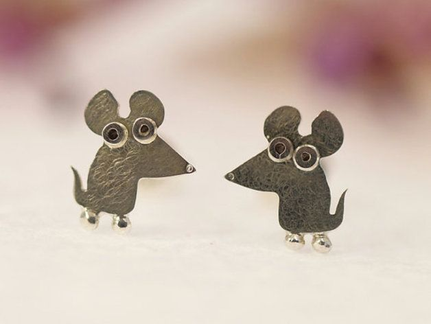 Mouse stud earrings, handmade from sterling silver. Joyful and unique, you will definitely love them, they look even better once in your ears!  Shipped in a small jewelry packing box, well...