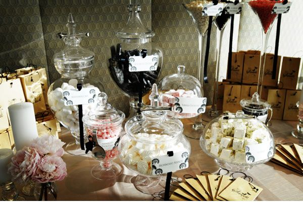 Vintage wedding candy bar, supply each guest with a bag and pick and mix your own party favor!