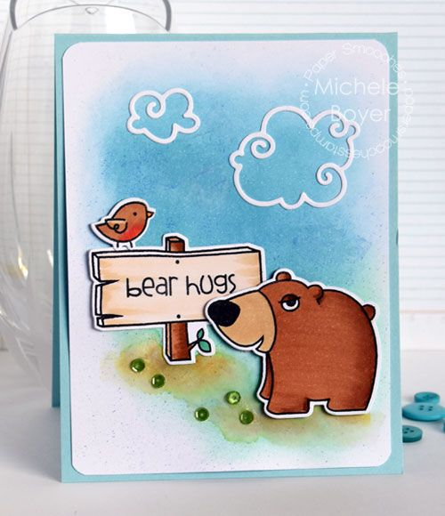 Bear Hugs card by Michele Boyer for Paper Smooches - Happy Campers stamp set and Icons dies, Clouds die, Natural Beauties stamp set
