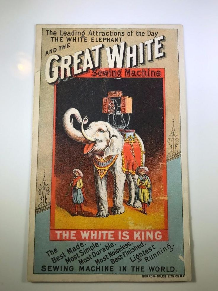1800's Victorian Trade Card - Great White Sewing Machine - Elephant