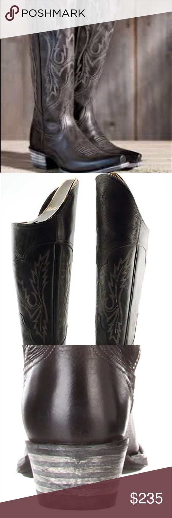 Ariat new in box size 10 black over the knee boots Ariat new in box over the knee cowboy boots. The Musketeer-inspired Murrieta is a lifestyle-defining boot with feminine features to match its rugged composition. This is the boot for the woman whose personal style is without boundaries. The slim, full-grain leather shaft is offset by roughed-out seams and stitch detailing and topped with a high-arched topline that folds down. With overall authentic western styling and ATS footbed technology…