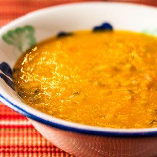 Recipe for squash soup with butternut squash, leeks, coconut milk, saffron, and ginger.