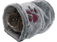Great tunnel bed/hideaway for bunnies....omg! I neeeeeed one, or two for my buns!