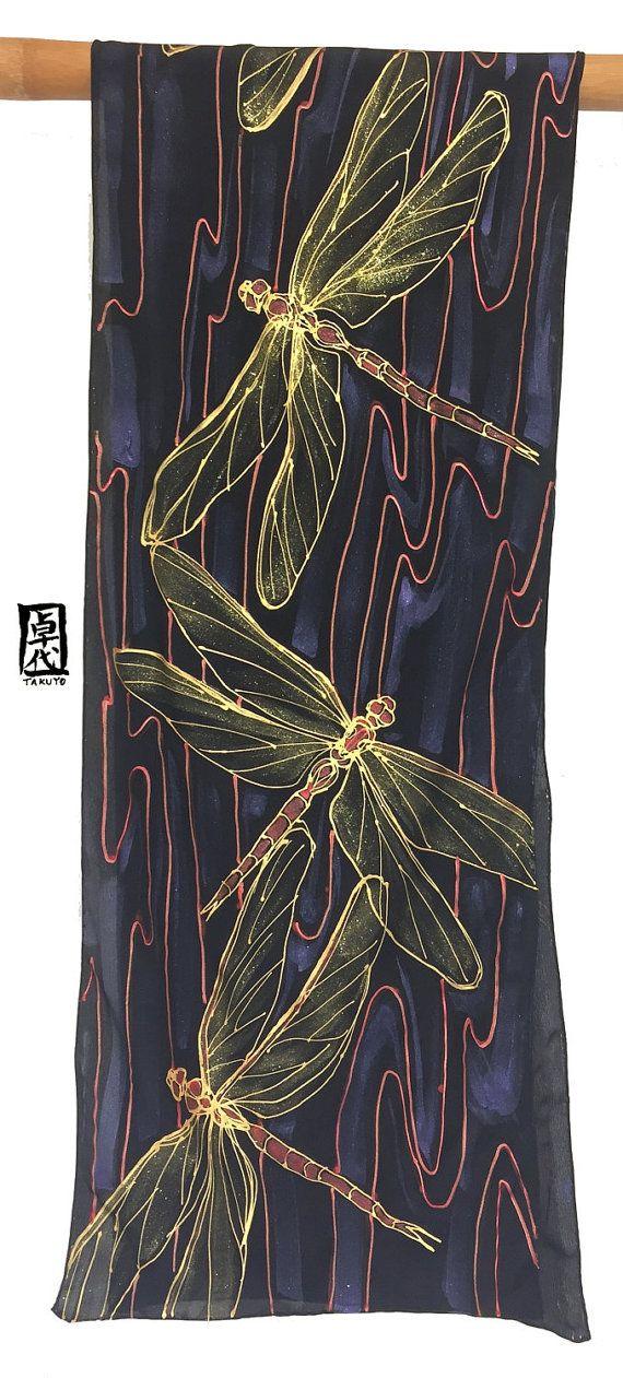 Dragonfly Scarf Silk Scarf Handpainted ETSY от SilkScarvesTakuyo