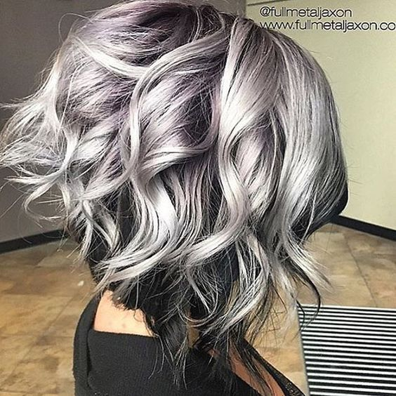 short gray hair with lavender highlights