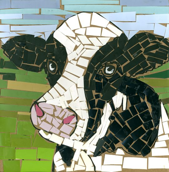 Mosaic Cow - draw outlines on cardboard.Cut paint chipsninto pieces. Glue