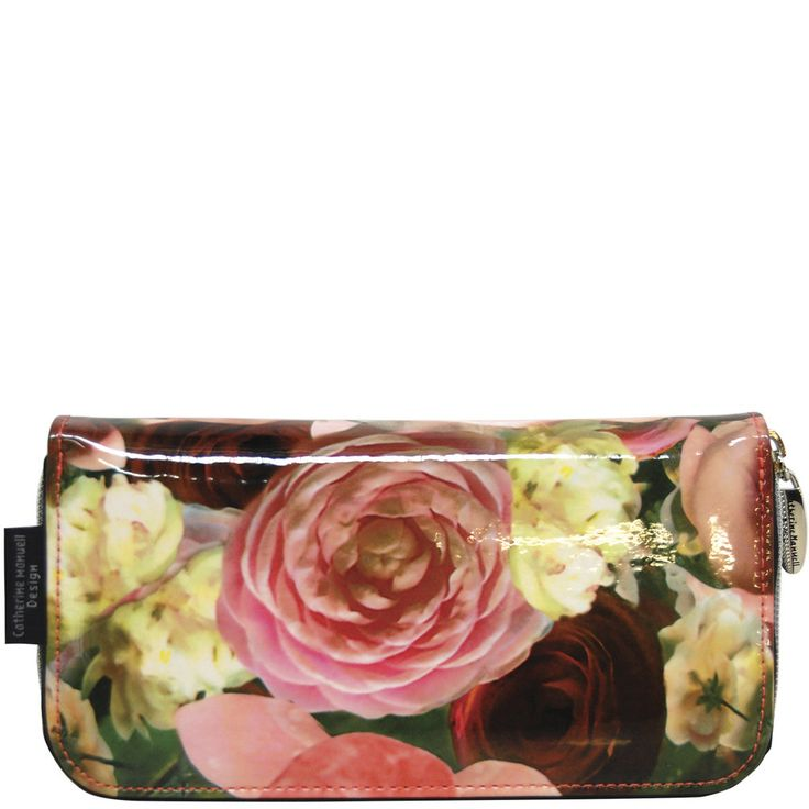 Curved Zip Section Wallet - Gloss Flower Bloom - Catherine Manuell Design