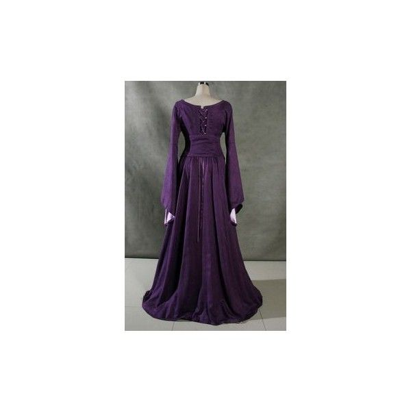 Lagenlook Peasant Renaissance Fayre Long Sleeved Dress ❤ liked on Polyvore featuring dresses, long sleeve peasant dress, purple renaissance dress, purple evening dresses, cocktail dresses and purple long sleeve dress