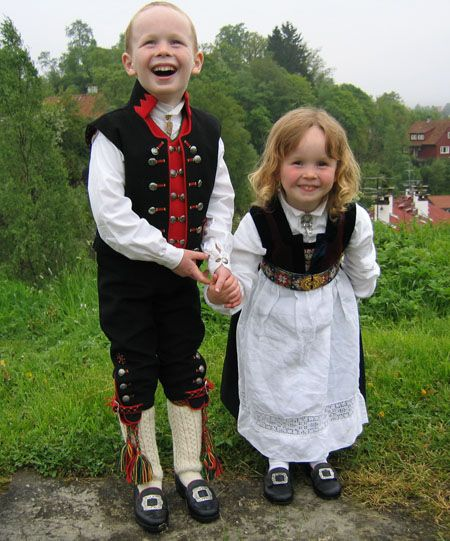 Adorable children in traditional Norwegian costume. Fana