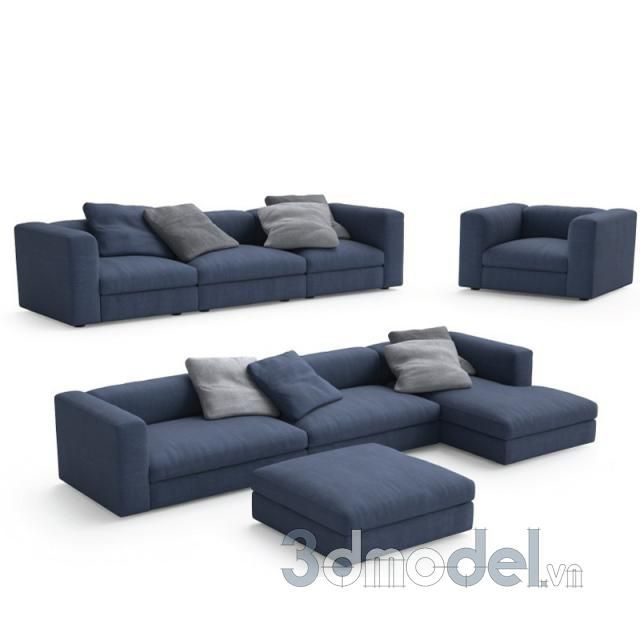 Poliform Dune sofas armchair and pouf - 3dmodels free