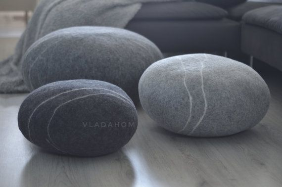 Felted wool stone - Floor cushions - Pouf - Floor pillows - gift for men - gifts for woman - Decorative pillows - Ottoman - Furniture Stone