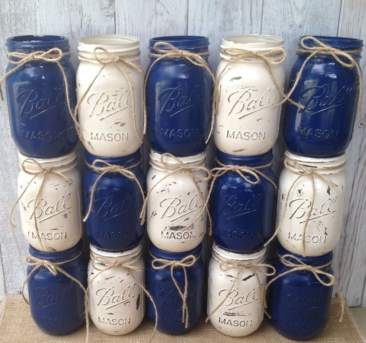 20 Pint Mason Jar,YOU PICK COLOR,Painted Mason Jars,Navy Blue,Cream,Rustic Wedding Centerpieces,Baby Shower Decoration,Flower Vases,Rustic by LacyBellesBoutique on Etsy https://www.etsy.com/listing/199864127/20-pint-mason-jaryou-pick-colorpainted