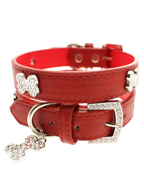 Red bone diamante collar for your pet. From £10. By Muttleys Kitchen