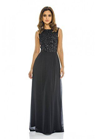 Black Round Neck Sequin Top Chiffon Maxi Dress