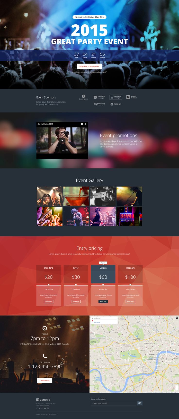 Party event landing page template