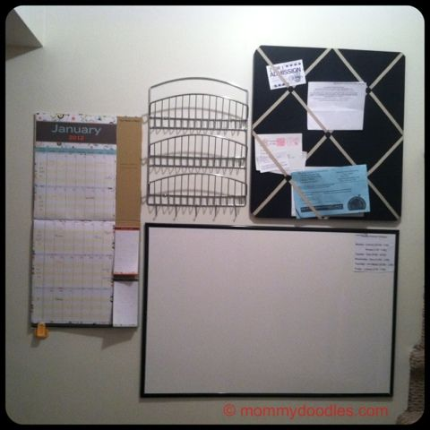 DIY HOME ORGANIZATION WALL: CALENDAR, DRY ERASE BOARD, MAIL HOLDER