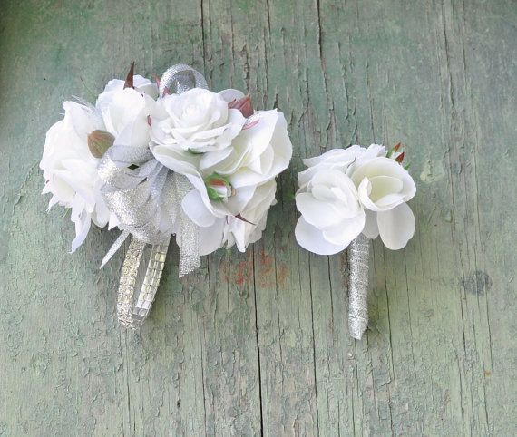 Prom corsage and boutonniere set. by Hollysflowershoppe on Etsy