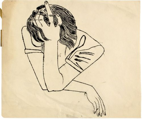 Andy Warhol, Untitled (Pensive Girl Resting Head on her Hand), ca. 1951