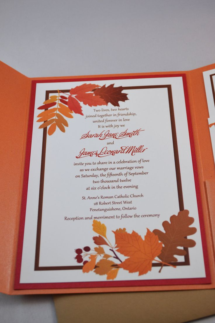 Needs some green in it, but pretty. Printable PDF Fall Wedding Invitations for the DIY Bride. $35,00, via Etsy.