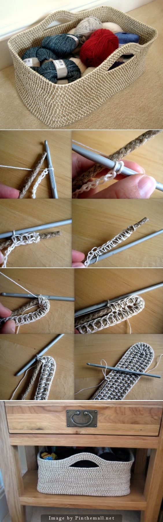 """Crochet Tutorial - How to crochet a basket over rope. Lots of informative text and photos to make a sturdy rope container."""":"""