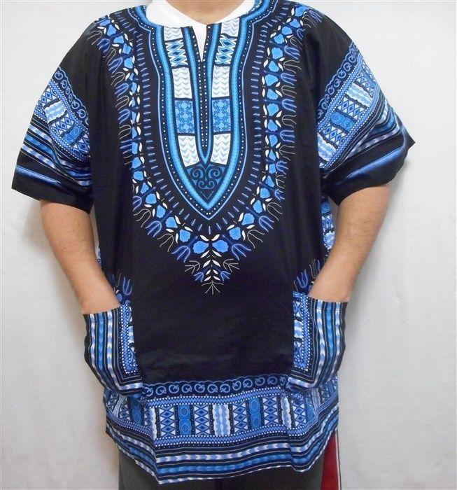 Dashiki Men African Shirt Summer Beach Vintage Costume Boho Blouse Black Turquoi #Decoraapparel #Dashiki