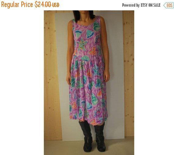 SALE Vintage 80's Sea Print  dress Summer maxi  by kickassvintage
