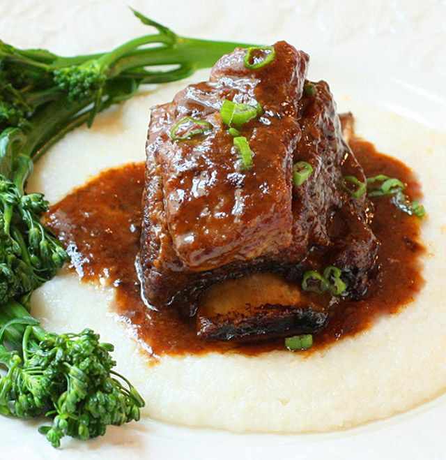 Braised Beef Short Ribs with Cheesy Horseradish Grits and Sweet and ...
