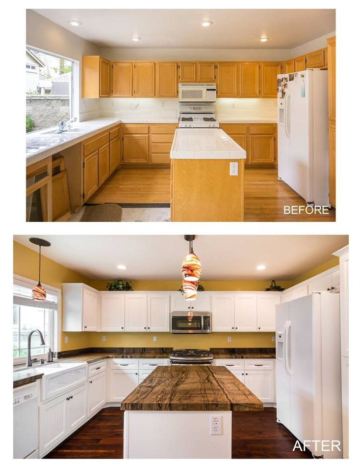 White bead-board shaker door-before and after cabinet ...
