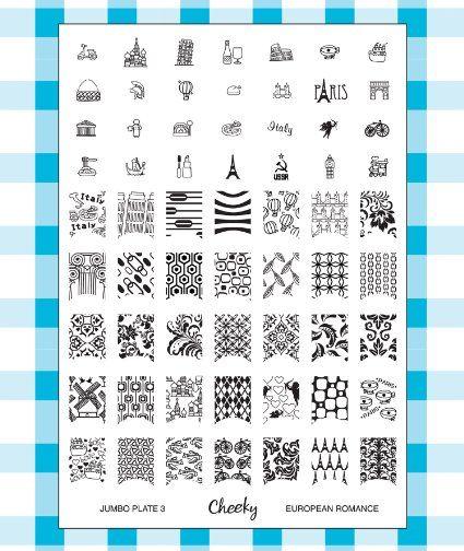 "Amazon.com: Cheeky New 2013 Collection of Jumbo Nailart Polish Stamp Stamping Manicure Image Plates Accessories Set Kit. Nail Art Jumbo Image Plate 3- ""European Romance"": Beauty"