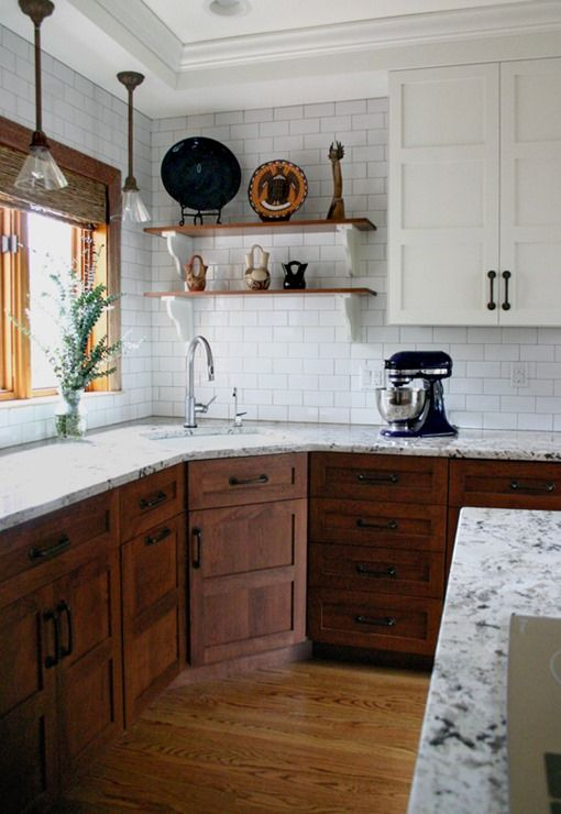 Nice Kitchen ~ Like The White Upper Cabinets With The Darker Wood Lower Cabinets;  Also, Always Love Subway Tiles! Good Ideas