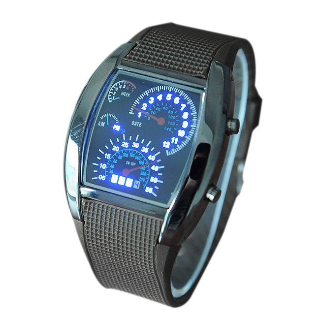 Modny zegarek męski LED na plastikowym pasku
