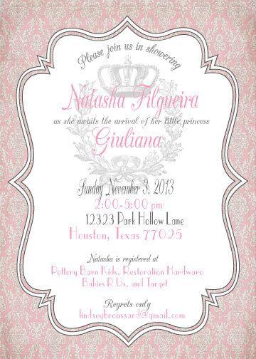 Vintage Pink and Grey Baby Shower Invitation by afineflourish, $12.00