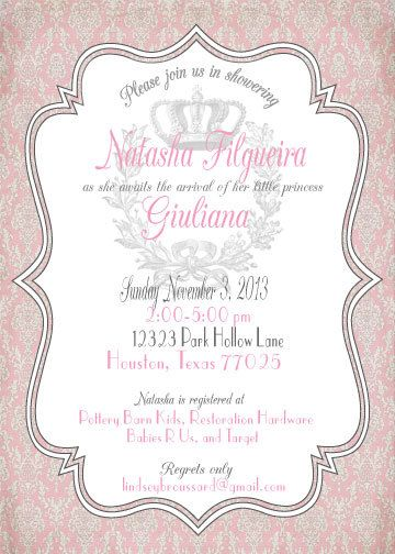 Vintage Pink and Grey Baby Shower Invitation by afineflourish, $12.00