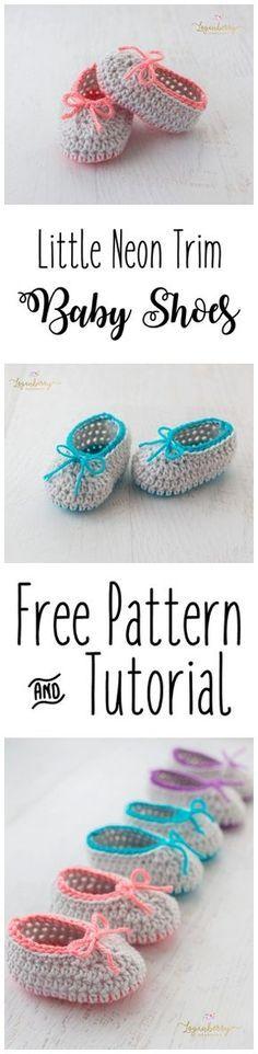Neon Trim Crochet Baby Shoes + Free Pattern, Baby Slippers + Tutorial, Crochet Socks, Crochet for Babies, Crochet for Girls