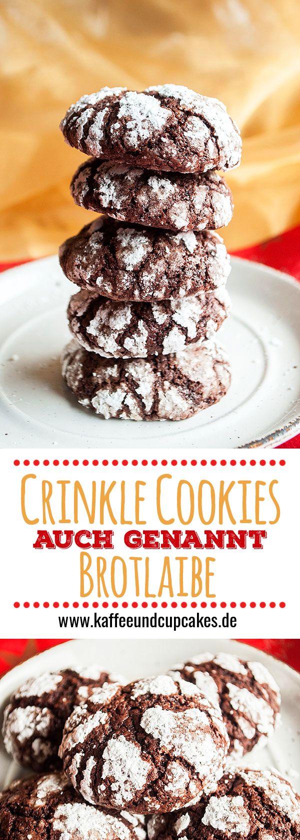 Crinkle Cookies, auch genannt Brotlaibe. Zarte Schoko-Plätzchen mit Haselnüssen. Perfekt für die Weihnachtszeit.