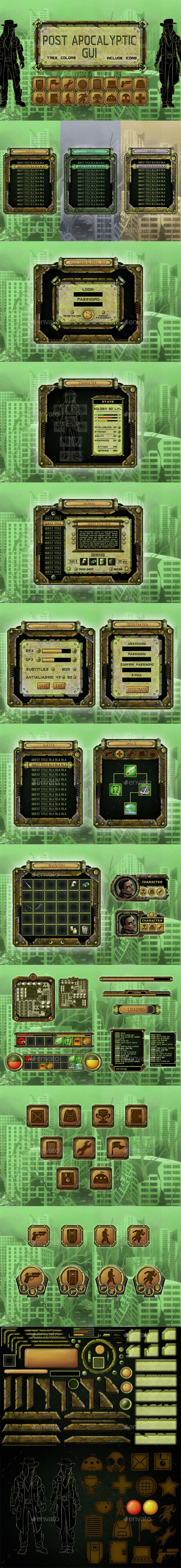 Post-Apocalyptic Game UI - User Interfaces Game Assets