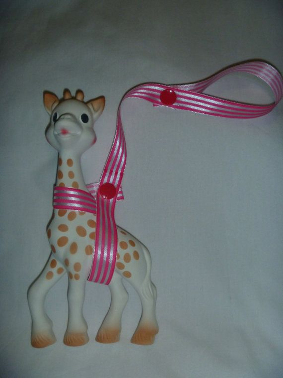 Bright Pink Stripe Sophie the Giraffe Leash/Toy Saver Strap